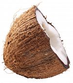 Half of coconut isolated on a white. File contains clipping paths.