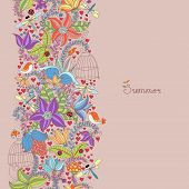 Floral texture with bird and insects.Summer background.