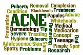 Acne word cloud on white background