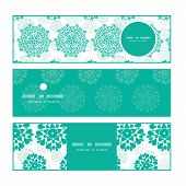 Vector abstract green decorative circles stars striped horizontal banners set pattern background