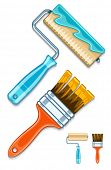Maintenance tools brushes and rollers for paint works. Eps10 vector illustration. Isolated on white background
