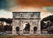 Perspective of the Arch of Constantine in Rome at night