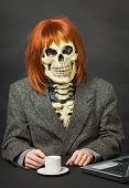 Horrible Man - Skeleton With Red Hair Drinking Coffee