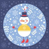 Beautiful Christmas card with snowman and bird