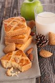 almond cake with apple and milk