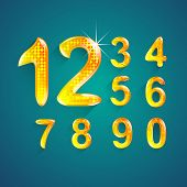 Set Of Alphabet Numbers Crystal Colors Style 0 To 9 Vector Illustration.