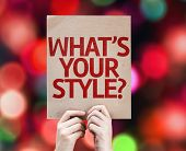 What's Your Style? card with colorful background with defocused lights