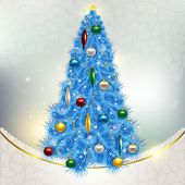 Abstract background with elegant Christmas blue Christmas tree w