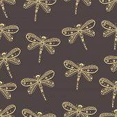 Dragonfly seamless nature pattern. Hand drawn style design