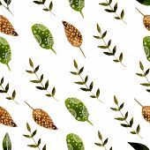 Nature hand drawn watercolor nature seamless pattern with brunch