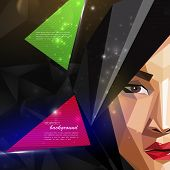 illustration with an asian woman face in polygonal style. modern poster, fashion, beauty or entertai