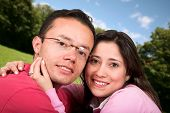 lovely couple outdoors poster