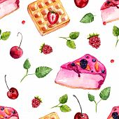 Watercolor Desserts And Berries Seamless Pattern. Vector Background With Sweets, Leaves, Cake And Be