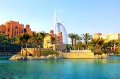 stock photo of emirates  - Madinat Jumeirah in Dubai Unated Arab Emirates tilt-shift photography ** Note: Soft Focus at 100%, best at smaller sizes - JPG