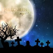 Halloween vector illustration with full moon and cemetery on the night sky background. party flyer d