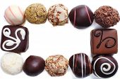 Group of sweet chocolate candies isolated on white background