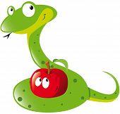 picture of garden snake  - green snake and red apple  - JPG