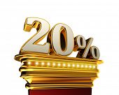 Twenty percent figure on a golden platform with brilliant lights over white background