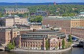 Aerial View Of Riksdag (parliament) Building And Stockholm Palace At Helgeandsholmen Island, Stockho