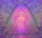 pic of pink eyes  - Woman with third eye psychic supernatural senses  - JPG