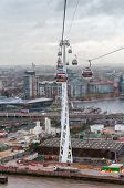 Gondolas Of The Emirates Air Line Cable Car In London On A Rainy Day