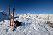 stock photo of avalanche  - On the top of the mountain pair of back country  - JPG