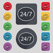 Service And Support For Customers. 24 Hours A Day And 7 Days A Week Icon. Set Of Colored Buttons