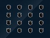 Black glossy shield icons