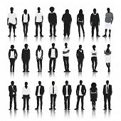 Silhouettes of Casual People in a Row