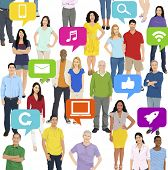 Illustration of Multiethnic People Social Media Concept