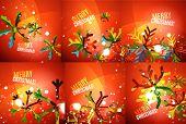 image of merry chrismas  - Set of colorful bright Chrismas card - JPG