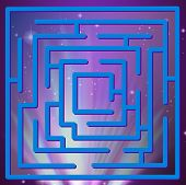 Illustration of a maze game with space view