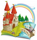 Illustration of a pop-up book with castle and a knight