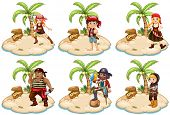 Illustration of set of pirates on the island