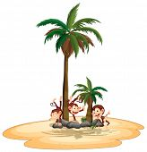 Illustration of three monkeys playing on an island