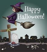 A happy halloween poster with a witch