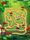 A maze with mushrooms and ladybugs