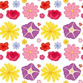 Illustration of a seamless colorful flowers