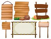 Illustration of many design of wooden signs