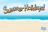 A summer holiday template at the beach