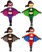 Four superwomen in a costume