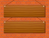 Illustration of two wooden signs hanging on the wall