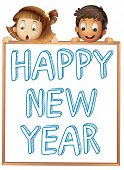 Illustration of a boy and a girl with new year sign