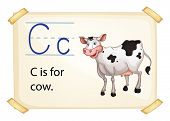 Illustration of alphabet C is for cow