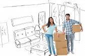 Attractive young couple with moving boxes against living room sketch