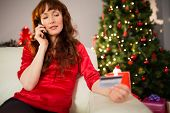 Redhead on the phone holding credit card at home in the living room