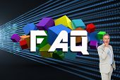 The word faq and thinking businessman against abstract shiny lines on black background