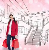 Happy brunette in winter clothes holding shopping bags against light glowing dots on pink