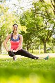 Happy fit brunette stretching on grass in the park
