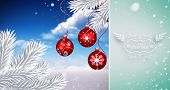 Snow falling against digital hanging christmas bauble decoration